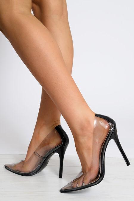 Black PersPex Stiletto High Heels