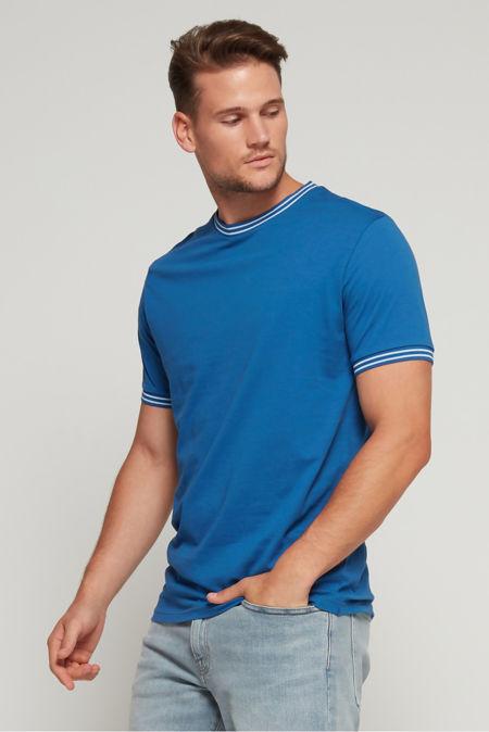 Denim Double Stripe Contrast T-Shirt