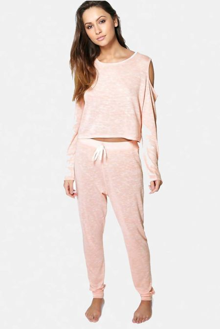 Nude Cold Shoulder Space Dye Loungewear Tracksuit