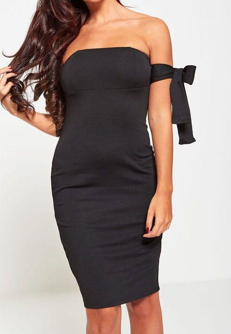 Black Sleeve Knot Bardot Dress