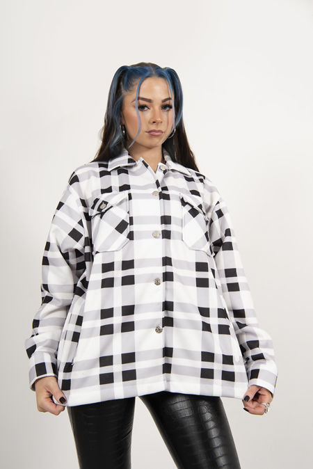White And Black Checked Jacket