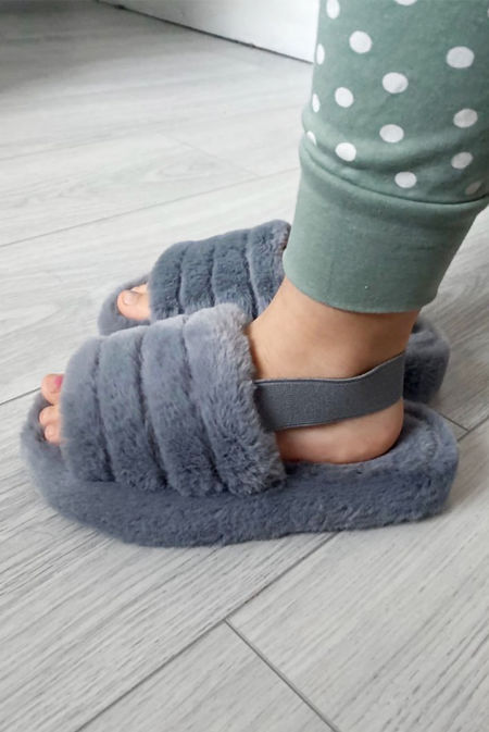 Kids Grey Faux Fur Fluffy Stripe Slipper