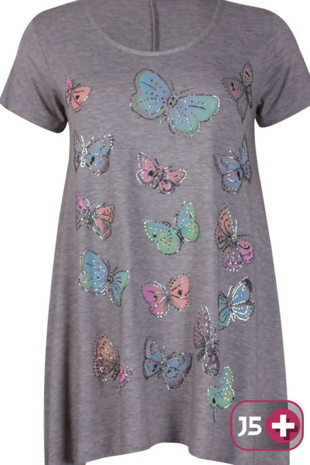 Plus Size Grey Butterfly Printed Asymmetry Top