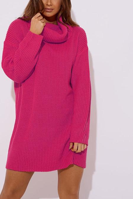 Hot Pink Roll Neck Knitted Jumper Dress