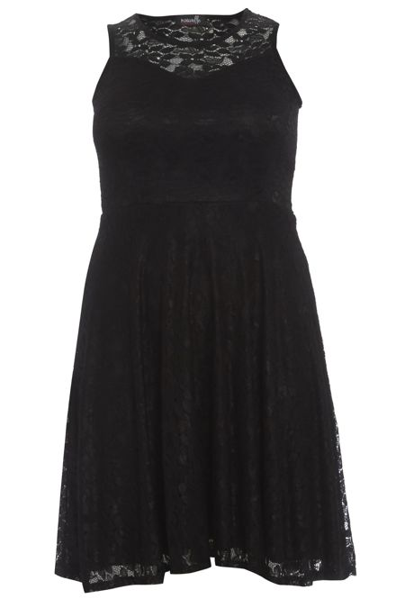 Plus Size Black Sleeveless Floral Lace Skater Dress
