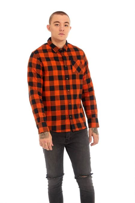 Orange Bright Checked Shirt