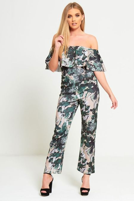 Green Floral Printed Jumpsuit