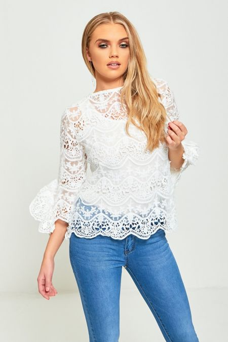 White Floral Mesh Tie Up Top