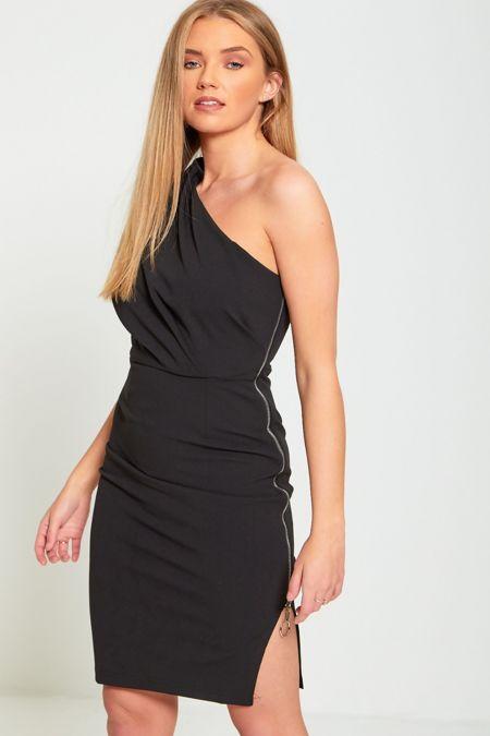 Black Asymmetry Zip Down Dress