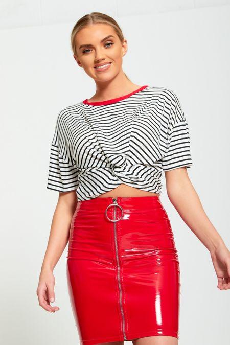 Vinyl Ring Zip Up Mini Skirt
