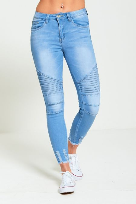 Biker Ribbed Light Denim Skinny Fit Jeans