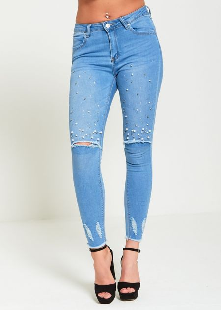 Pearl Embellished Distressed Denim Jeans