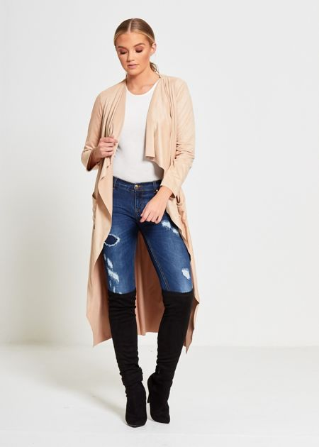 Drapped Open Suede Cardigan