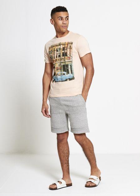 Peach Havana Printed Muscle Fit T-Shirt