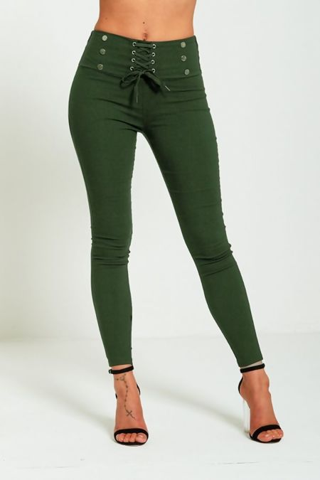 Black High Waist Lace Up Button Detailed Skinny Jegging