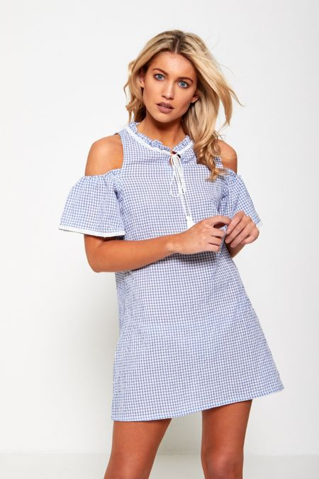 Blue Cold Shoulder Tassel Detail Dress