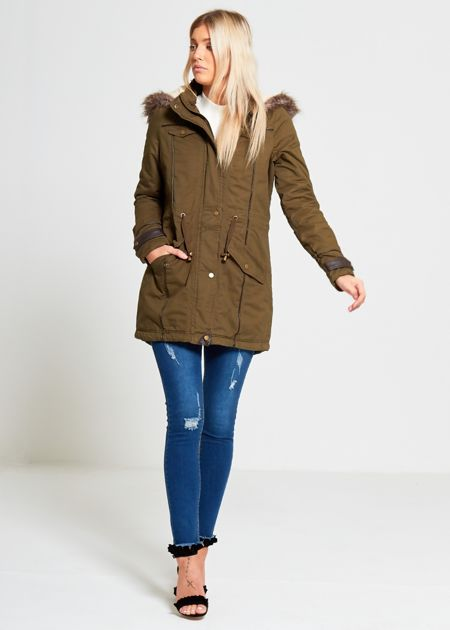 Plus Size Khaki Cotton Allure Trim Fur Parka