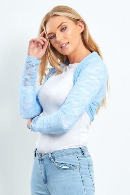 Plus Size Teal Cropped Lace Bolero Shrug