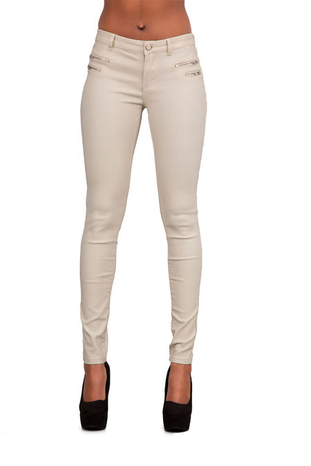Beige Leather Look Zip Front Jeans