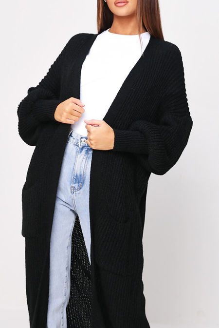 Black Longline Balloon Sleeve Knitted Cardigan