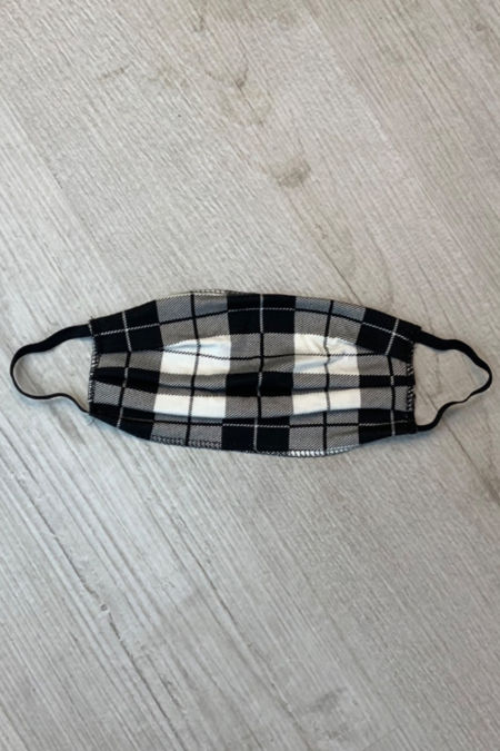 Black Chequered Print Mask