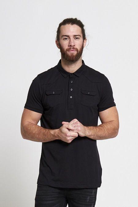 Black Pocket Front Polo Shirt