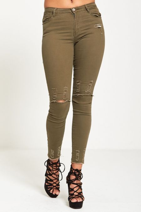 Knee Disguised Khaki Frayed Hem Jeans