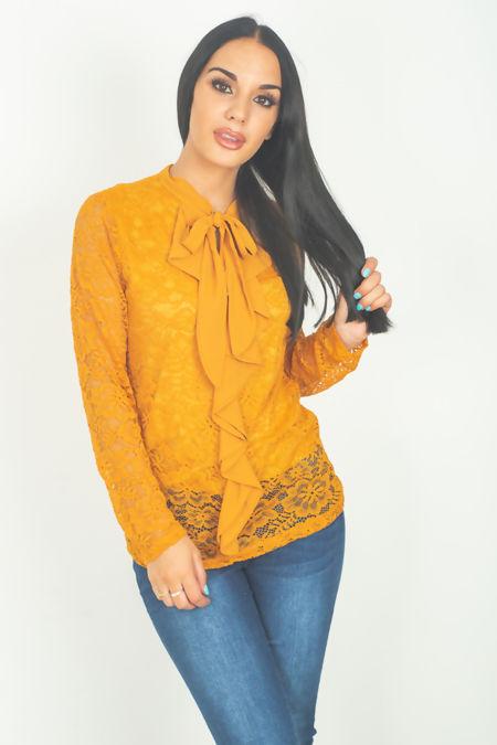 Mustard lace overlay ruffle blouse