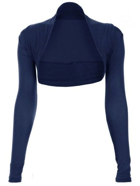 Navy Viscose Cropped Plain Shrug