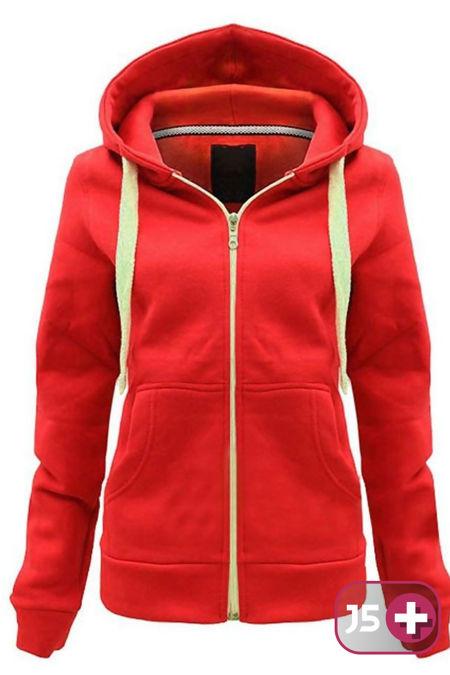 Plus Size Unisex Red Plain Hoodie