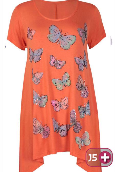 Plus Size Orange Butterfly Printed Asymmetry Top