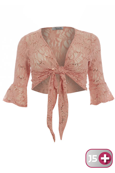 Plus Size Peach Sequin Bolero Tie Up Shrug