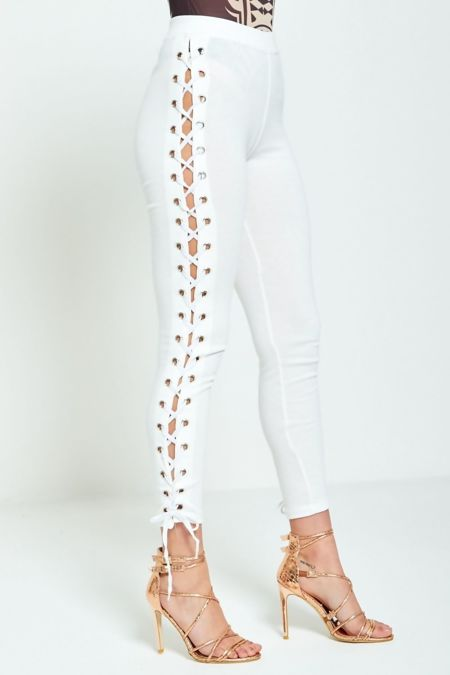 White DIY Edgy Lace Up Leggings