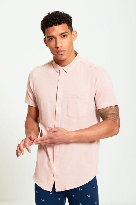 Short Sleeve Round Hem Cotton Shirt