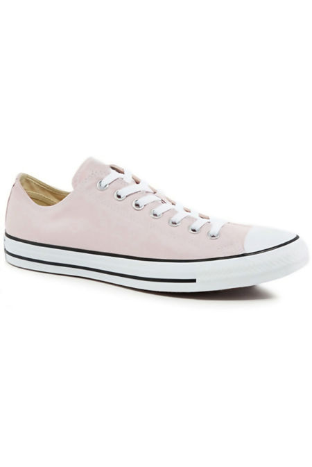 Baby Pink Canvas Flat Lace Up Trainers