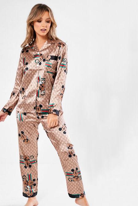 Beige Mickey Mouse GG Long Sleeve Satin Pajamas