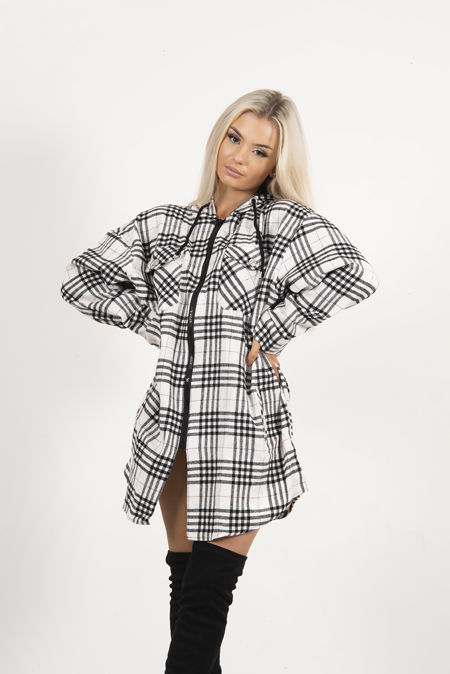 White And Black Plaid Hooded Shacket