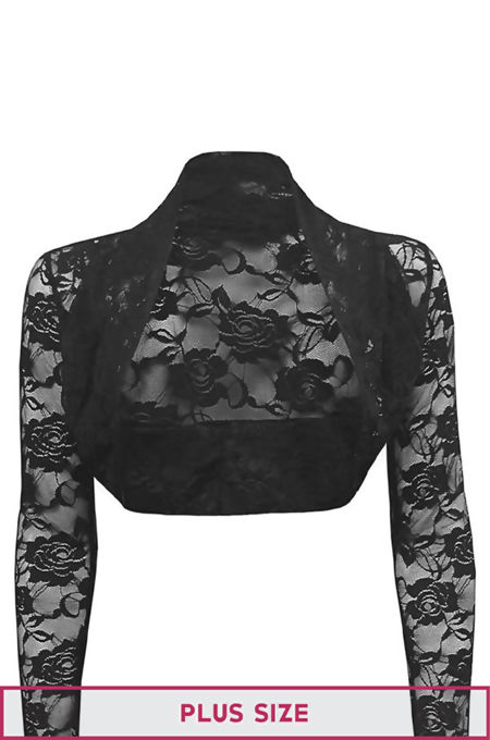 Plus Size Black Cropped Lace Bolero Shrug