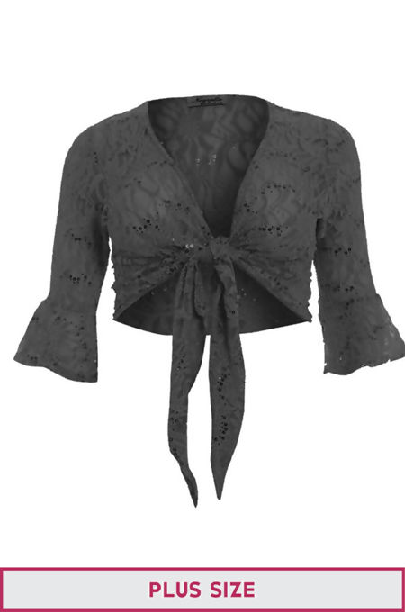 Plus Size Charcoal Sequin Bolero Tie Up Shrug