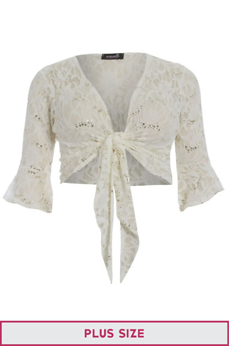 Plus Size Cream Sequin Bolero Tie Up Shrug