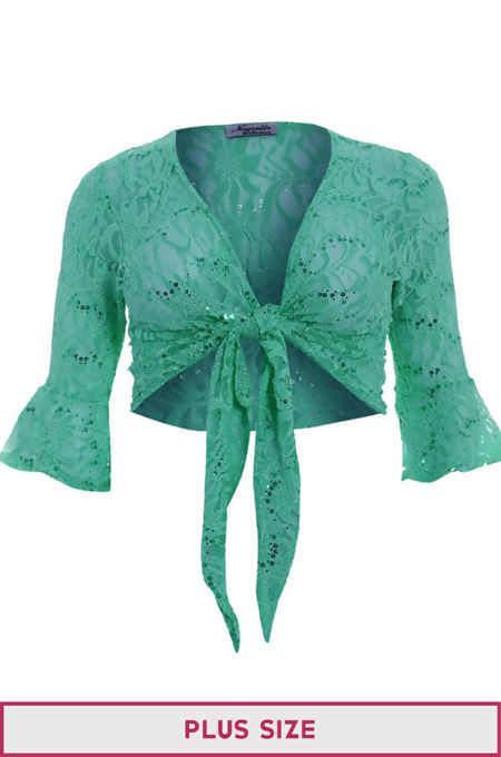 Plus Size Green Sequin Bolero Tie Up Shrug