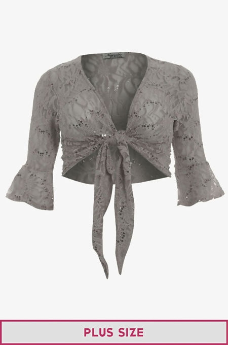 Plus Size Grey Sequin Bolero Tie Up Shrug