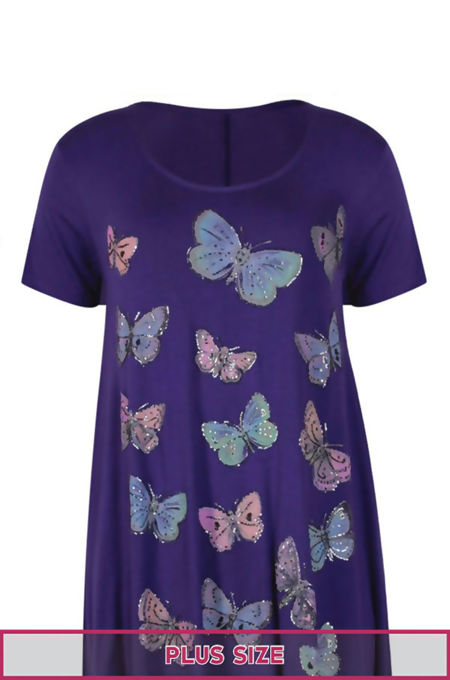 Plus Size Purple Butterfly Printed Asymmetry Top