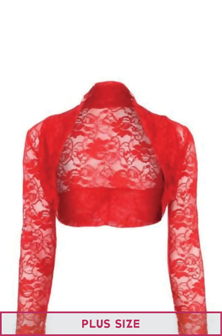 Plus Size Red Cropped Lace Bolero Shrug