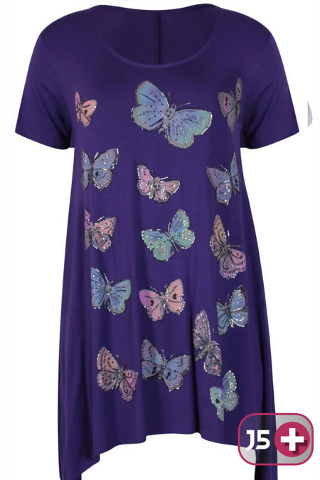 Plus Size Purple Butterfly Printed Asymmetry Top