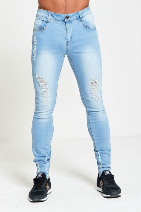 Distressed Light Denim Skinny Fit Jeans