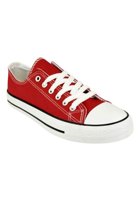 Red Canvas Flat Lace Up Trainers
