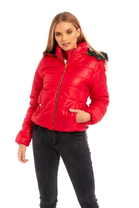 Red Puffer Fur Hood Jacket