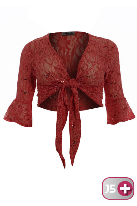 Plus Size Red Sequin Bolero Tie Up Shrug
