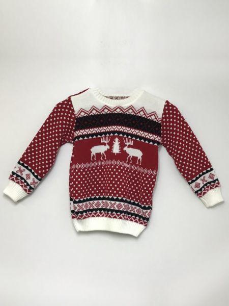 Red Kids Reindeer Patterned Christmas Jumper